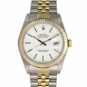 Rolex Watch Mens Datejust 16233 Two-Tone White
